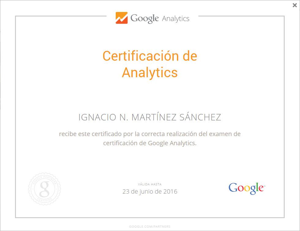 Certificación de Google Analytics – Google Partners Castellón