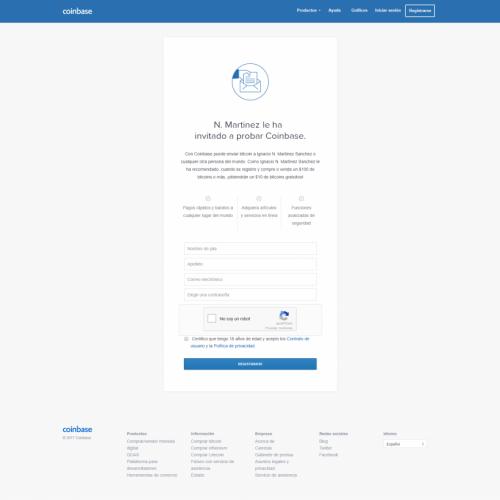 Registro en Coinbase
