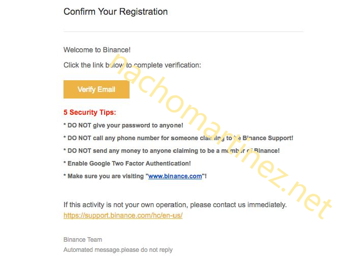 Email registro Binance